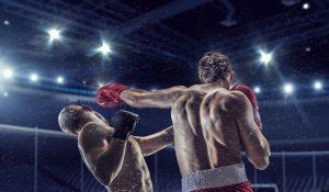 Boxekampf beim Knockout, linke Gerade